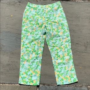 Vintage Lilly Pulitzer Green Cotton Frog Capris 6
